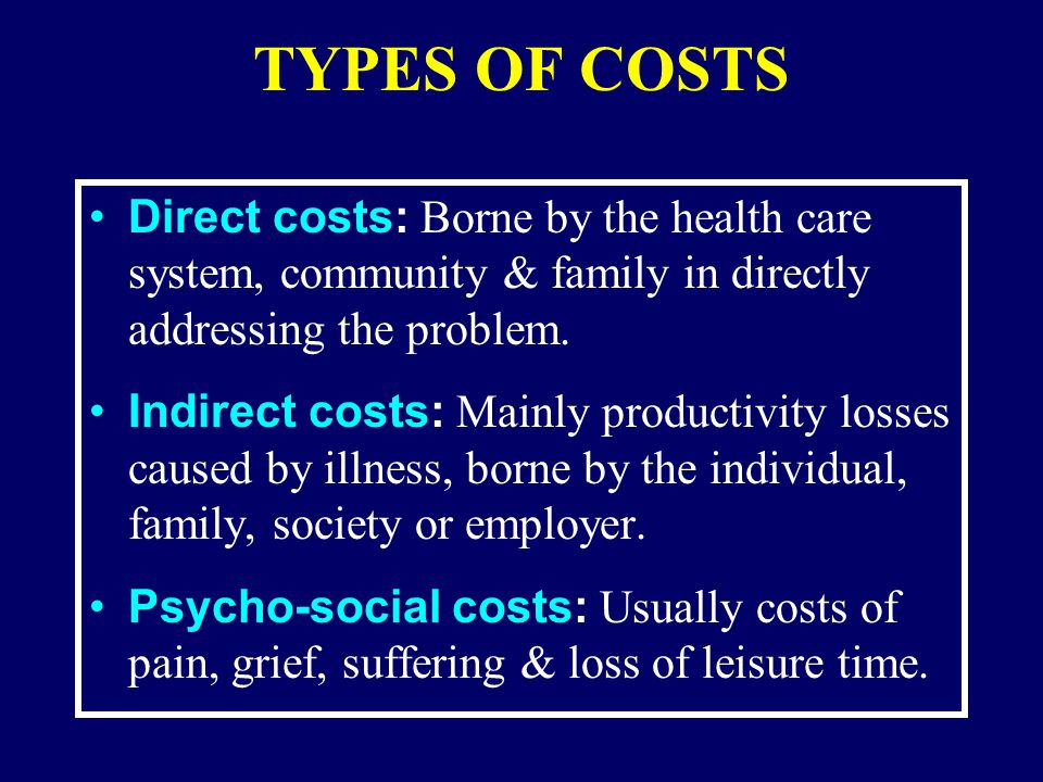 PERCENT DISTRIBUTION OF ECONOMIC COSTS OF ILLNESS, BY DIAGNOSIS & TYPE OF COST: 1980 (Adapted from Rice et al,1985)