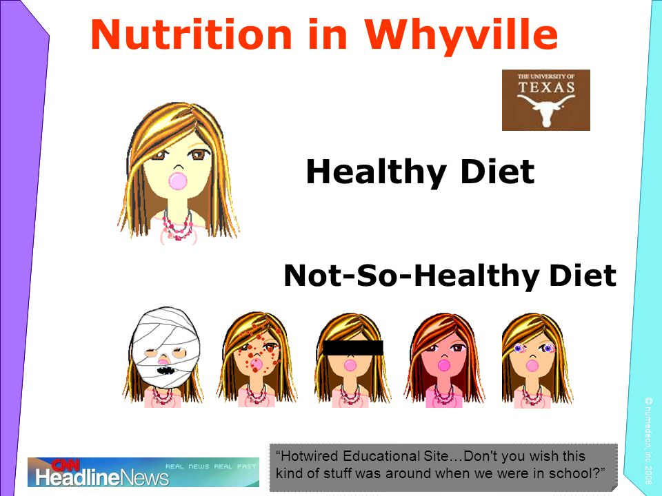 Nutrition in Whyville Healthy Diet Not-So-Healthy Diet Hotwired Educational Site…Don t you wish this kind of stuff was around when we were in school
