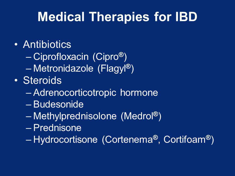 Medical Therapies for IBD Antibiotics –Ciprofloxacin (Cipro ® ) –Metronidazole (Flagyl ® ) Steroids –Adrenocorticotropic hormone –Budesonide –Methylprednisolone (Medrol ® ) –Prednisone –Hydrocortisone (Cortenema ®, Cortifoam ® )