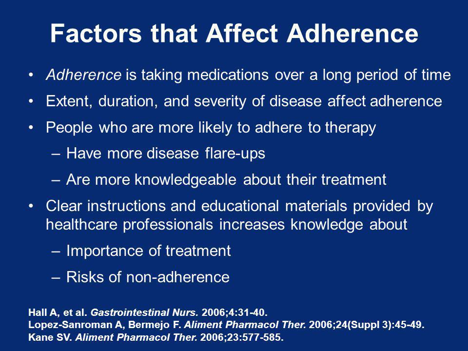Factors that Affect Adherence Adherence is taking medications over a long period of time Extent, duration, and severity of disease affect adherence People who are more likely to adhere to therapy –Have more disease flare-ups –Are more knowledgeable about their treatment Clear instructions and educational materials provided by healthcare professionals increases knowledge about –Importance of treatment –Risks of non-adherence Hall A, et al.