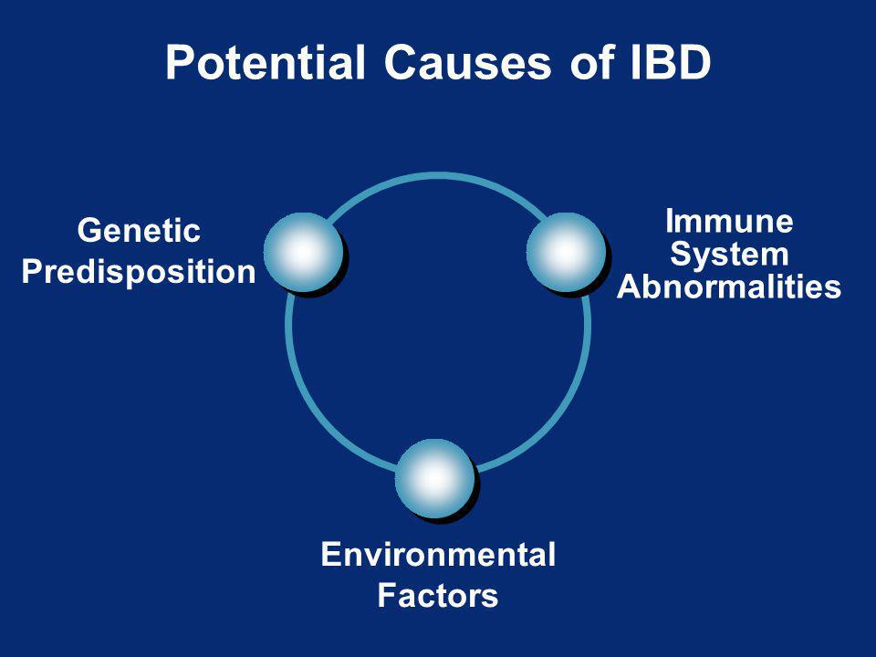 Potential Causes of IBD Genetic Predisposition Immune System Abnormalities Environmental Factors