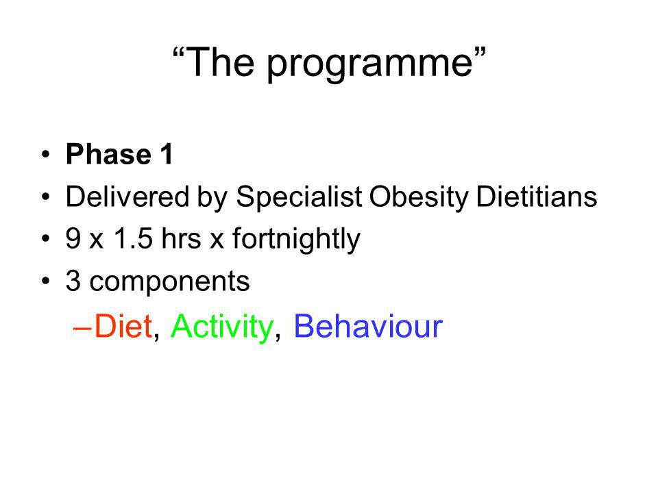 Session 1 Causes of Obesity Program Overview Benefits and Costs Looking Ahead Benefits of 5-10kg weight loss Goal setting Eat Well Plate Becoming More Active Lifestyle Diaries