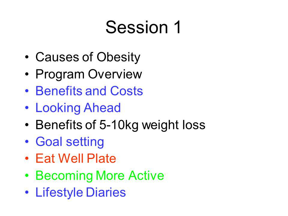Session 2 – Taking Control Personalised Dietary Prescription Barriers and benefits to becoming more active Setting goals and taking control