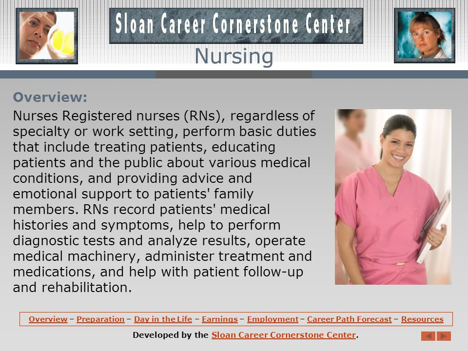Career Path Forecast (continued): Employment of registered nurses is expected to grow by 22 percent from 2008 to 2018, much faster than the average for all occupations.