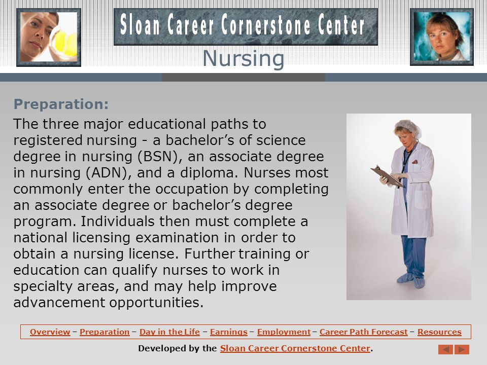 Preparation: The three major educational paths to registered nursing - a bachelors of science degree in nursing (BSN), an associate degree in nursing (ADN), and a diploma.