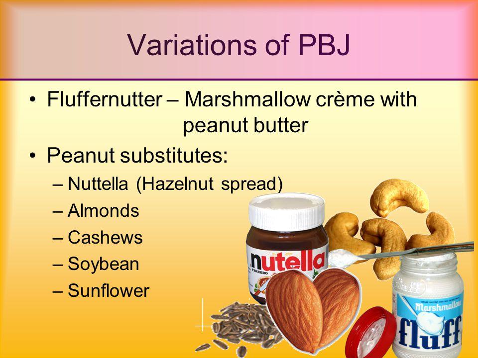 Jelly substitutes/enhancers: –Jam –Honey –Syrup –Marshmallow Fluff –Miracle Whip –Vegemite –Dried Fruit –Banana –Raisins Variations of PBJ