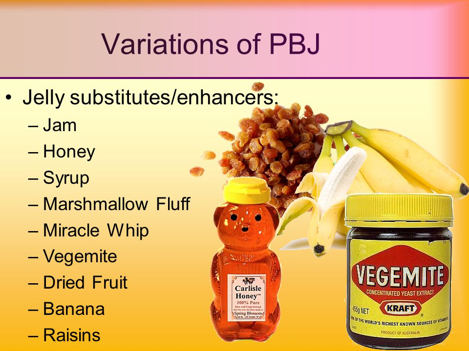 Jelly substitutes/enhancers: –Jam –Honey –Syrup –Marshmallow Fluff –Miracle Whip –Vegemite –Dried Fruit –Banana –Raisins Variations of PBJ