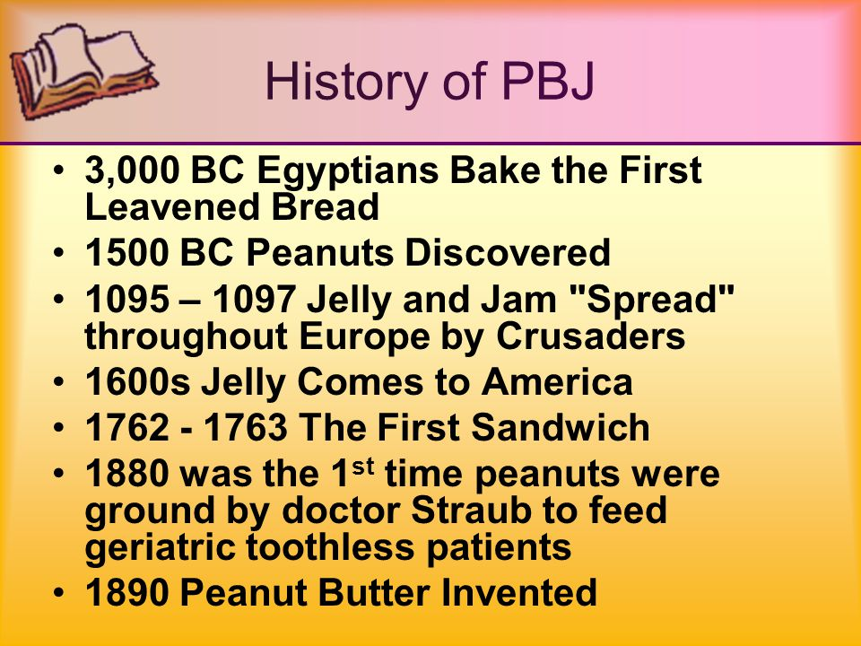 History of PBJ 1900 Soft White Bread Introduced 1903 George Washington Carver, Father of the Peanut Industry 1914 Commercial Peanut Butters Introduced 1927 The Greatest Invention…Sliced Bread 1940s PB&J Becomes Popular providing high protein food as substitute for meat in war times since it was not rationed
