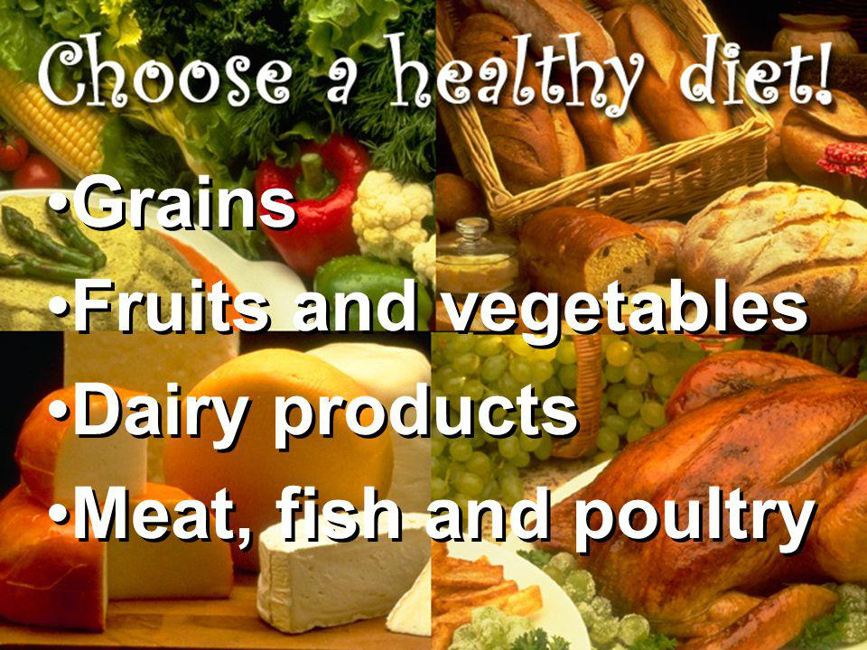Grains Fruits and vegetables Dairy products Meat, fish and poultry Grains Fruits and vegetables Dairy products Meat, fish and poultry
