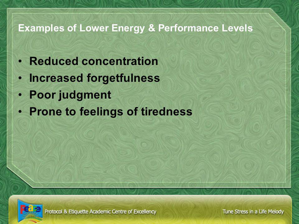 Examples of Lower Energy & Performance Levels Reduced concentration Increased forgetfulness Poor judgment Prone to feelings of tiredness