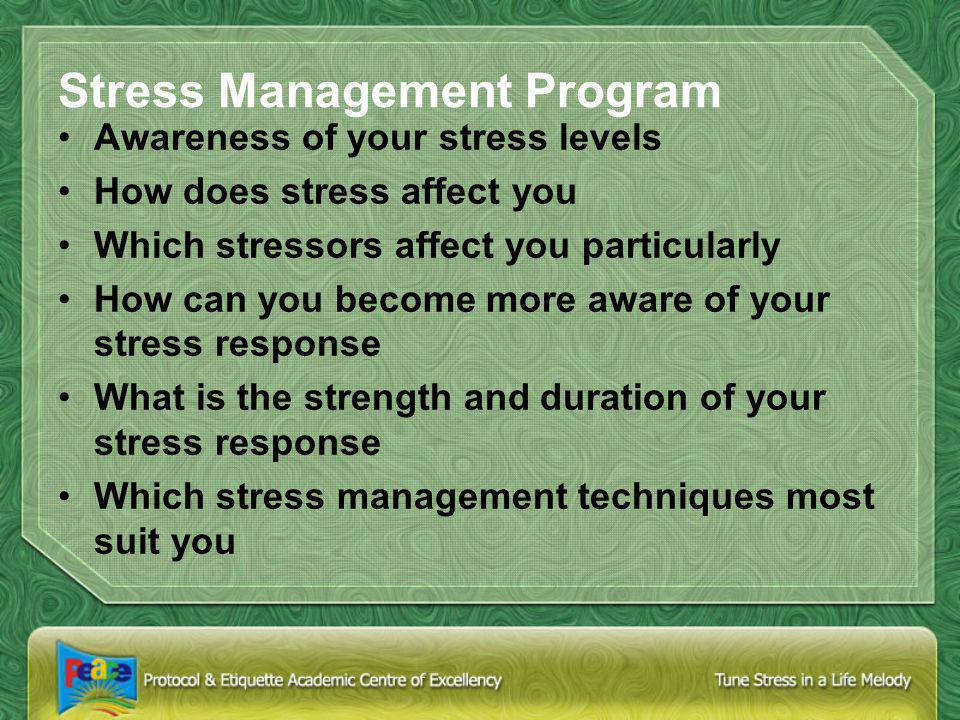 Control Stress Identify your Stressors