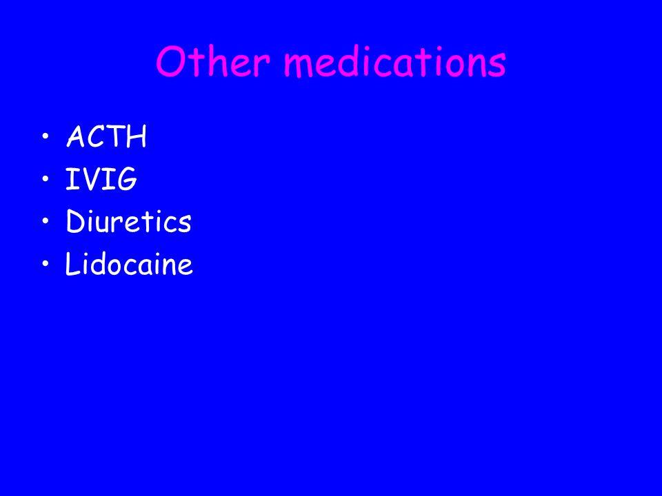 Other medications ACTH IVIG Diuretics Lidocaine