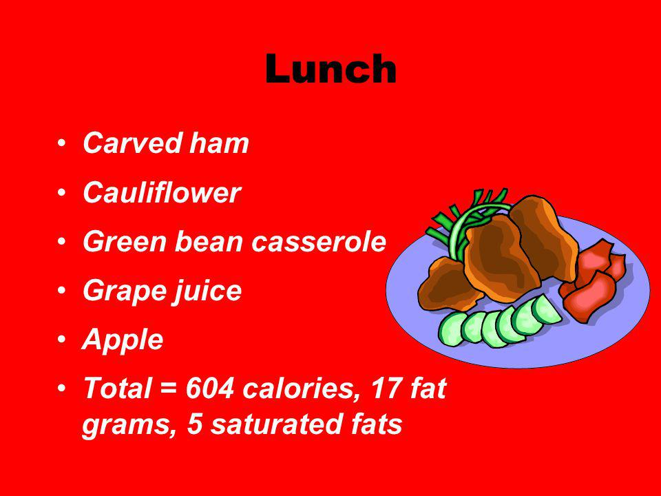 Lunch Carved ham Cauliflower Green bean casserole Grape juice Apple Total = 604 calories, 17 fat grams, 5 saturated fats