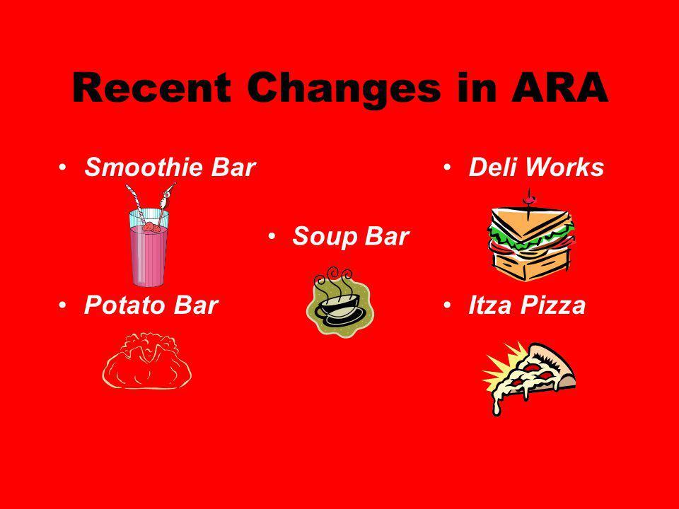 Recent Changes in ARA Smoothie Bar Potato Bar Deli Works Itza Pizza Soup Bar