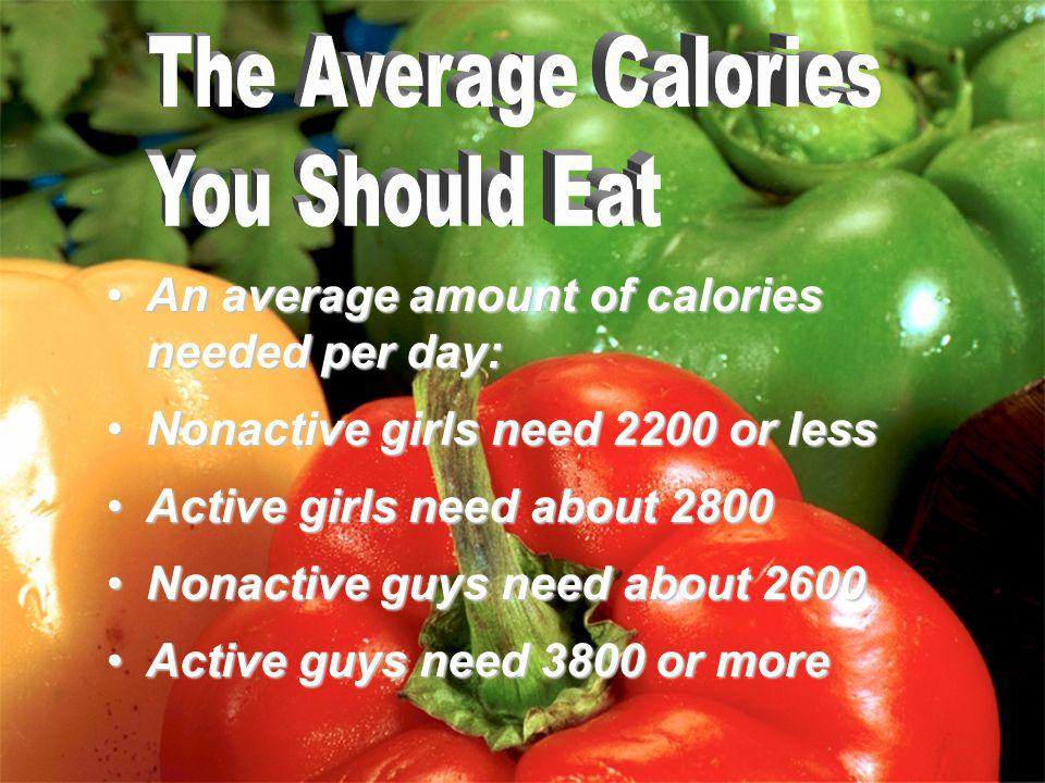 An average amount of calories needed per day:An average amount of calories needed per day: Nonactive girls need 2200 or lessNonactive girls need 2200 or less Active girls need about 2800Active girls need about 2800 Nonactive guys need about 2600Nonactive guys need about 2600 Active guys need 3800 or moreActive guys need 3800 or more