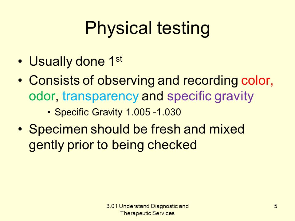 Physical testing Usually done 1 st Consists of observing and recording color, odor, transparency and specific gravity Specific Gravity 1.005 -1.030 Specimen should be fresh and mixed gently prior to being checked 3.01 Understand Diagnostic and Therapeutic Services 5
