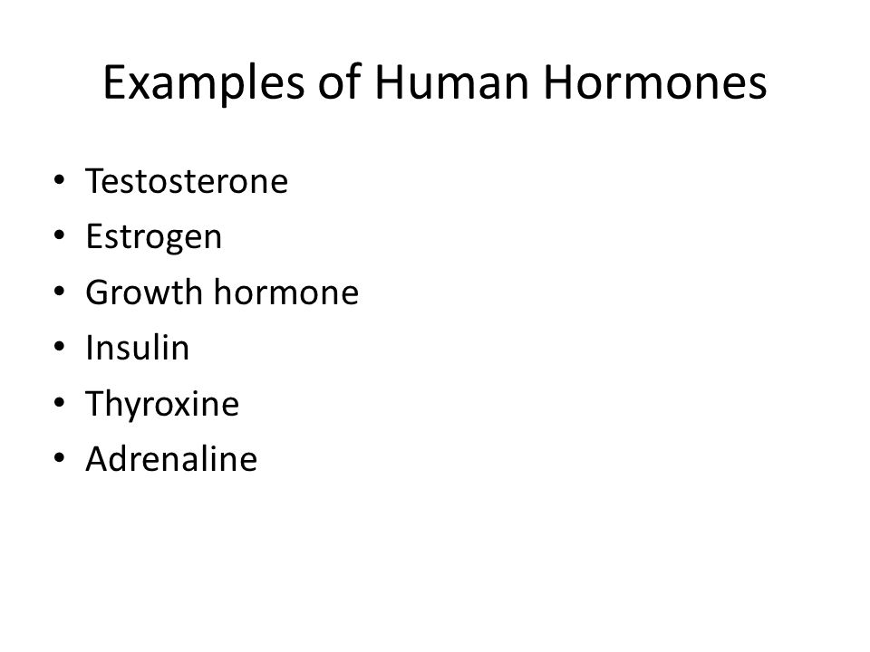Examples of Human Hormones Testosterone Estrogen Growth hormone Insulin Thyroxine Adrenaline