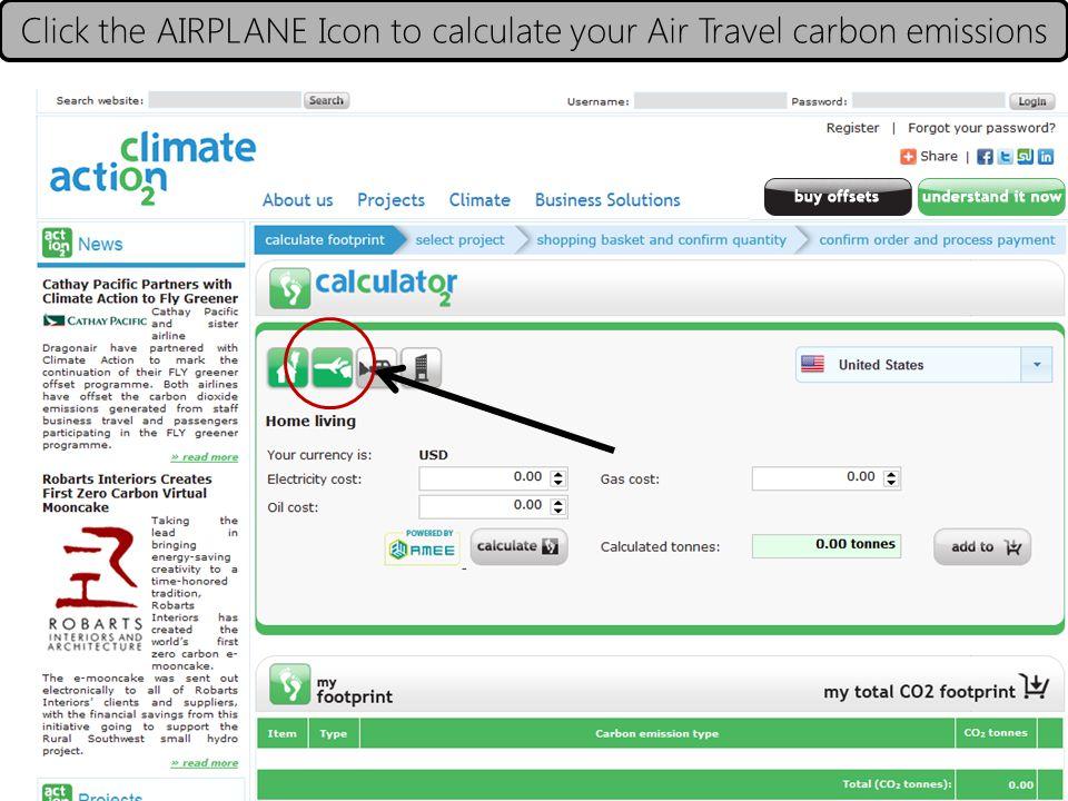 Click the AIRPLANE Icon to calculate your Air Travel carbon emissions