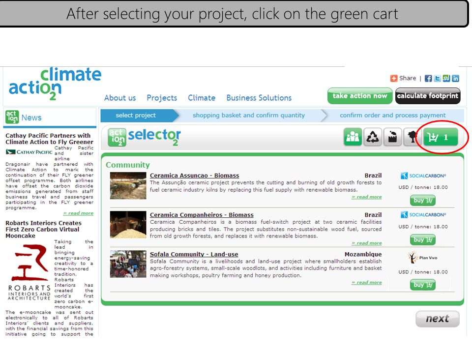 After selecting your project, click on the green cart