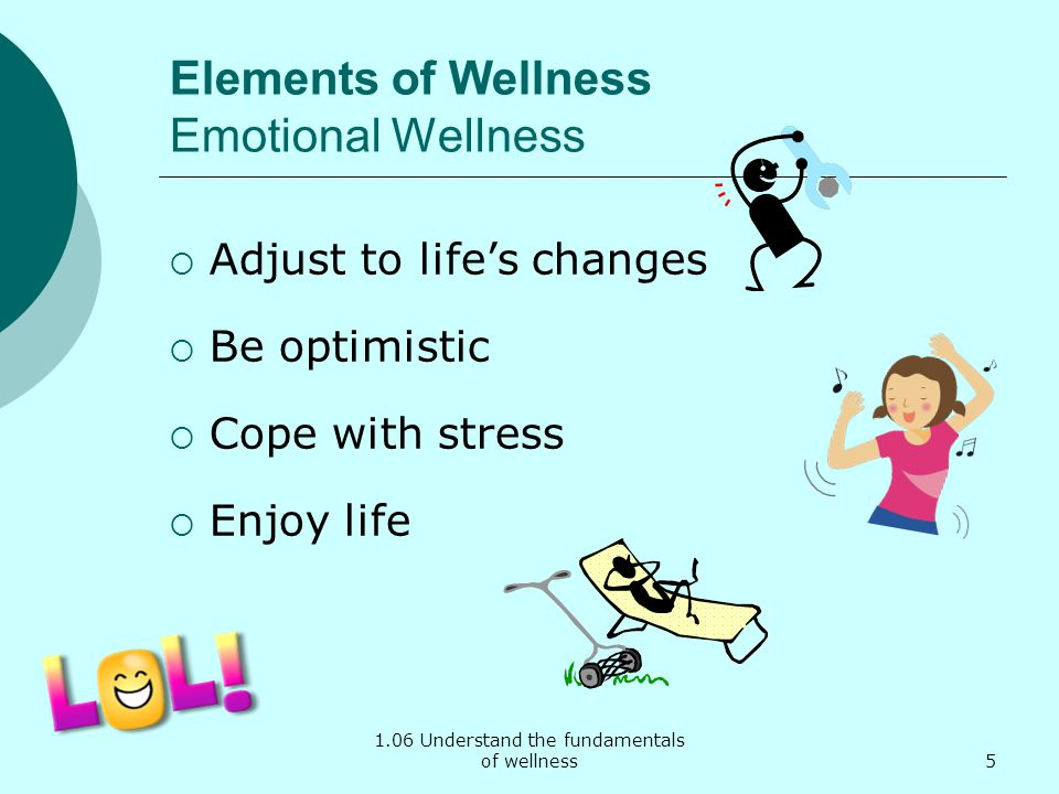 1.06 Understand the fundamentals of wellness Elements of Wellness Emotional Wellness Adjust to lifes changes Be optimistic Cope with stress Enjoy life 5