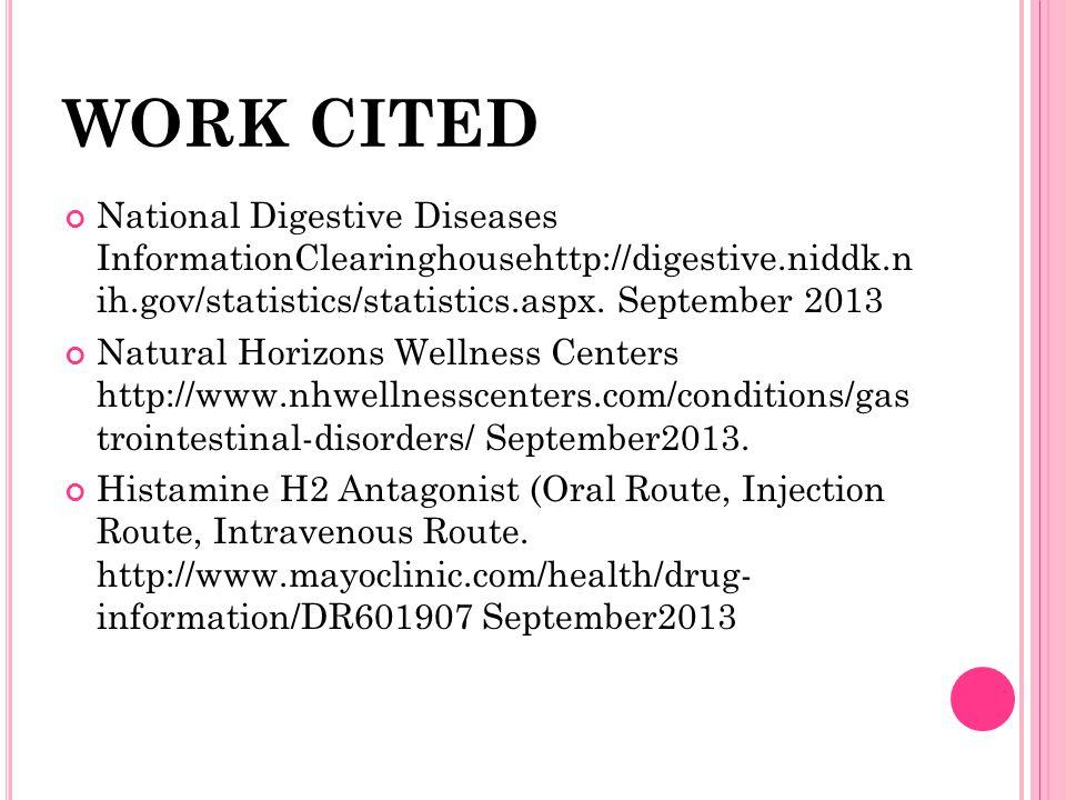 WORK CITED National Digestive Diseases InformationClearinghousehttp://digestive.niddk.n ih.gov/statistics/statistics.aspx. September 2013 Natural Hori
