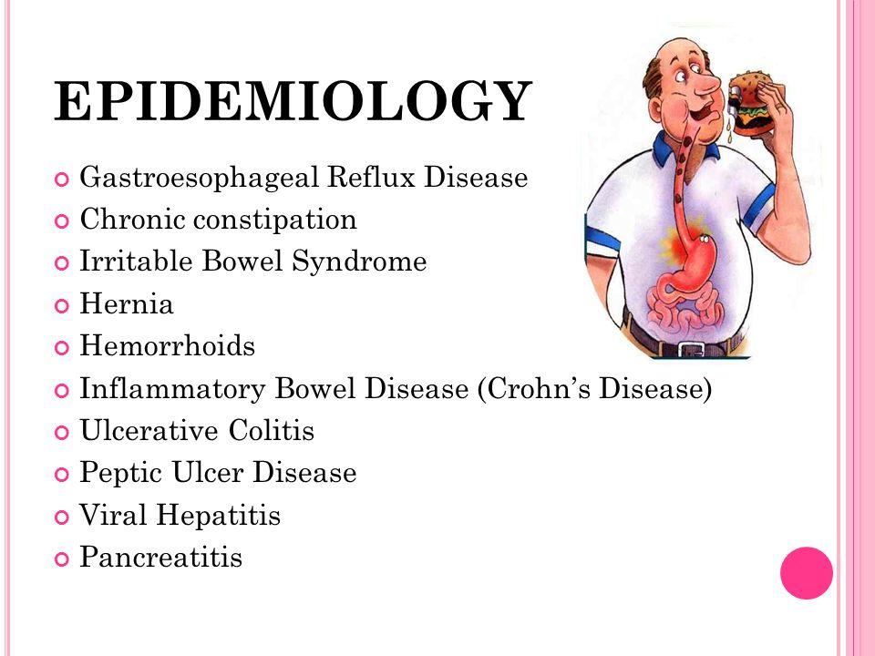 EPIDEMIOLOGY Gastroesophageal Reflux Disease Chronic constipation Irritable Bowel Syndrome Hernia Hemorrhoids Inflammatory Bowel Disease (Crohns Disea