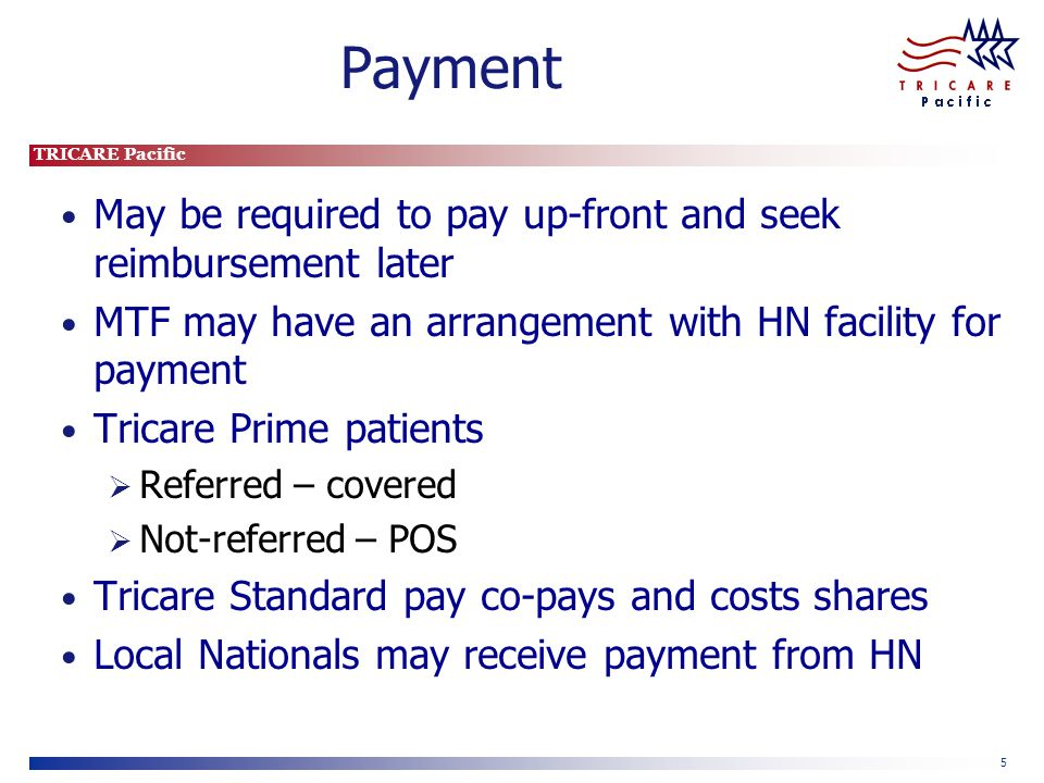 TRICARE Pacific 5 Payment May be required to pay up-front and seek reimbursement later MTF may have an arrangement with HN facility for payment Tricare Prime patients Referred – covered Not-referred – POS Tricare Standard pay co-pays and costs shares Local Nationals may receive payment from HN
