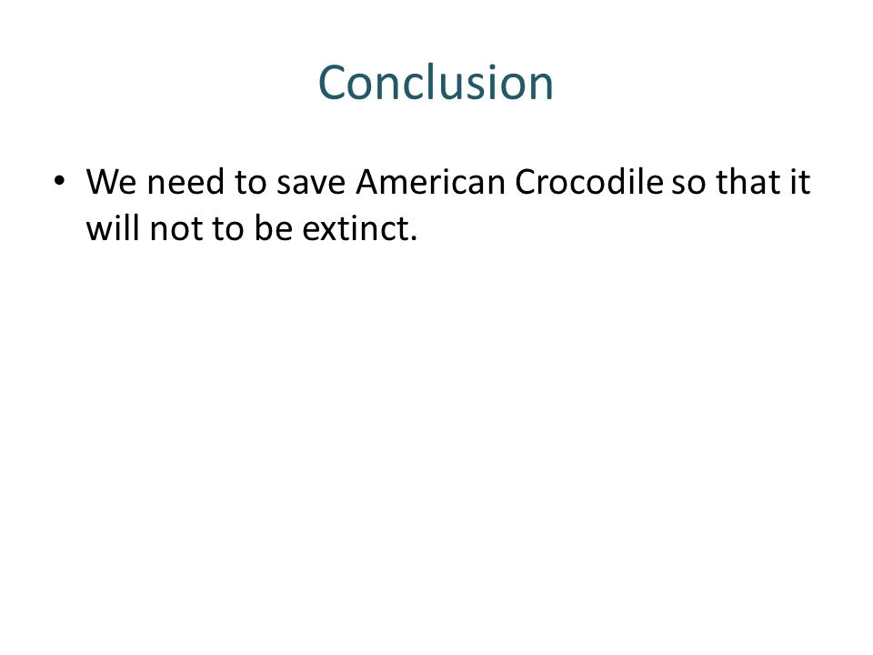 Conclusion We need to save American Crocodile so that it will not to be extinct.