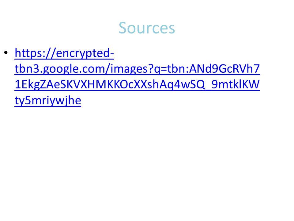 Sources https://encrypted- tbn3.google.com/images?q=tbn:ANd9GcRVh7 1EkgZAeSKVXHMKKOcXXshAq4wSQ_9mtklKW ty5mriywjhe https://encrypted- tbn3.google.com/images?q=tbn:ANd9GcRVh7 1EkgZAeSKVXHMKKOcXXshAq4wSQ_9mtklKW ty5mriywjhe