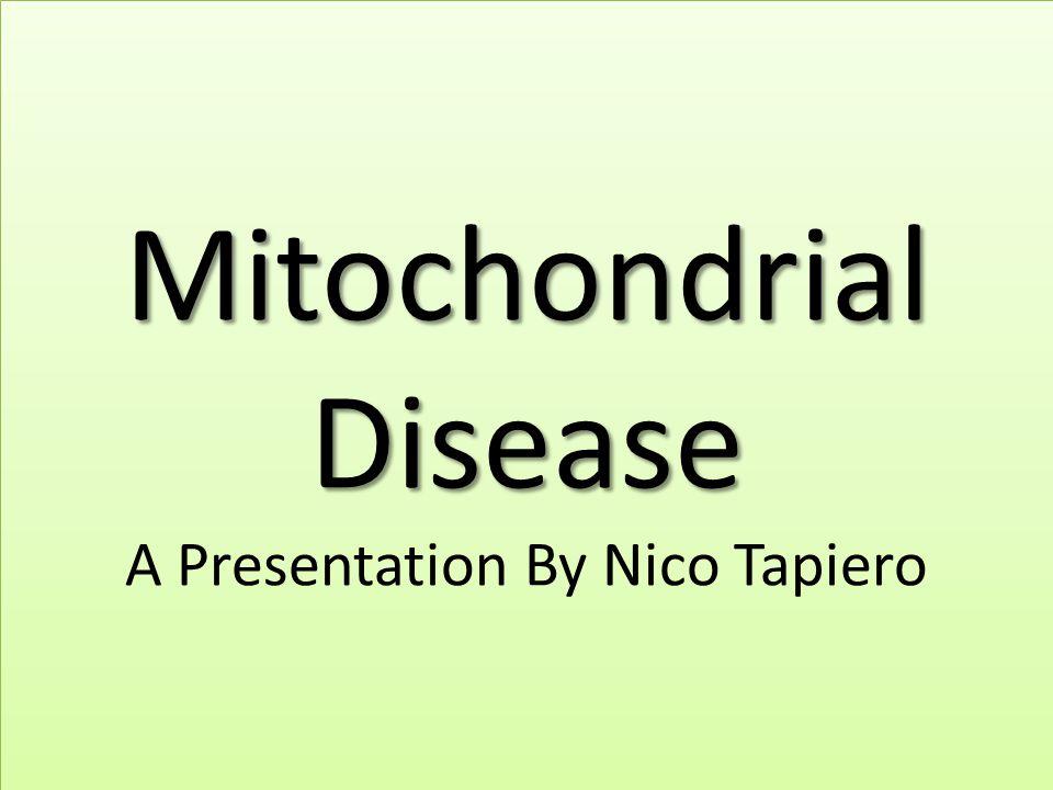 Mitochondrial Disease Mitochondrial Disease A Presentation By Nico Tapiero