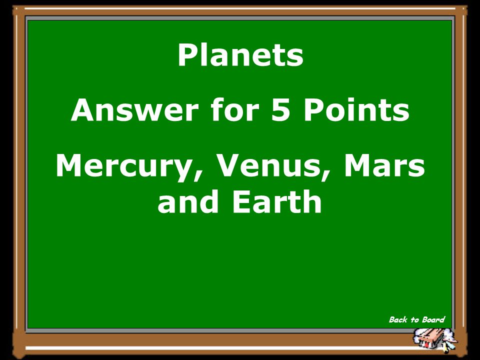 Planets Question for 5 Points What are the Terrestrial planets? Show Answer
