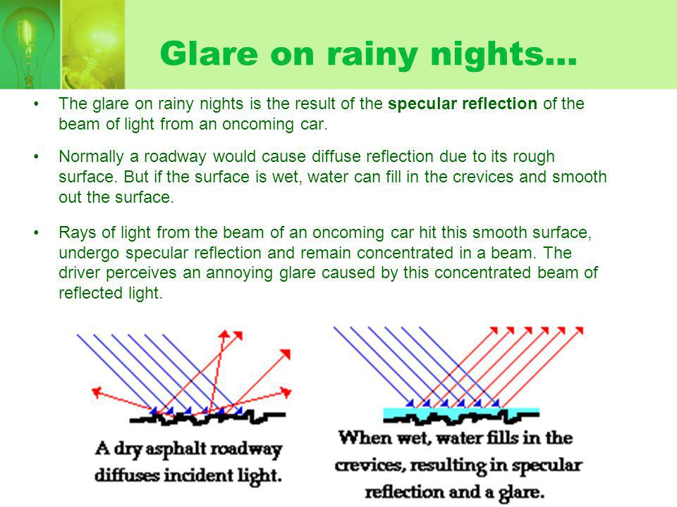 Glare on rainy nights...