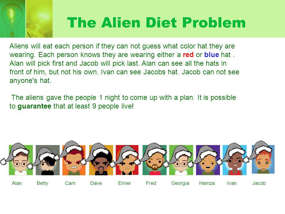 The Alien Diet Problem Aliens will eat each person if they can not guess what color hat they are wearing.