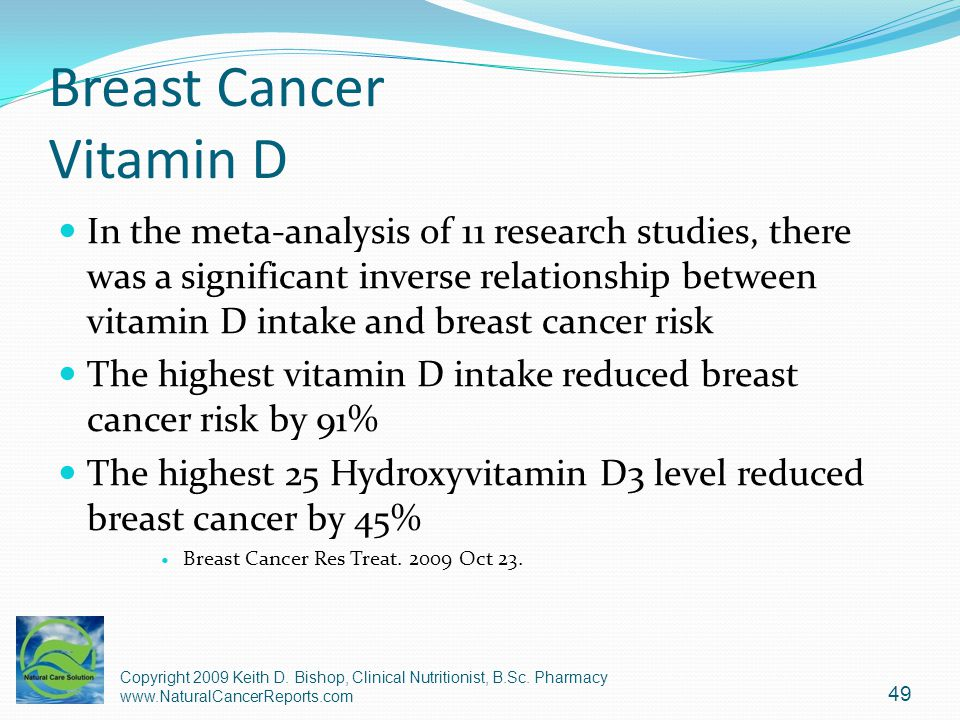 Breast Cancer Vitamin D In the meta-analysis of 11 research studies, there was a significant inverse relationship between vitamin D intake and breast