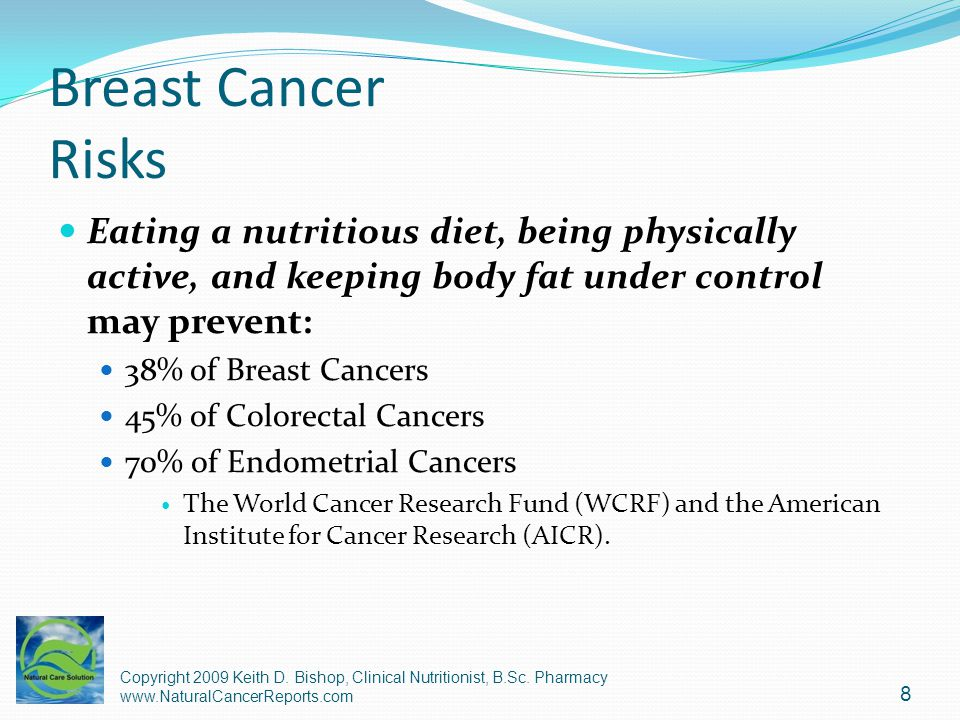 Breast Cancer Diet - Calories Energy intake >2,057 calories per day was significantly and positively related to breast cancer risk.