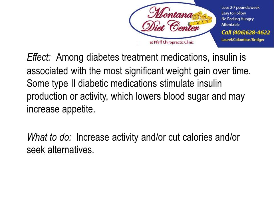 Effect: Among diabetes treatment medications, insulin is associated with the most significant weight gain over time.
