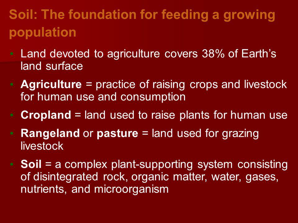 Soil: The foundation for feeding a growing population Land devoted to agriculture covers 38% of Earths land surface Agriculture = practice of raising crops and livestock for human use and consumption Cropland = land used to raise plants for human use Rangeland or pasture = land used for grazing livestock Soil = a complex plant-supporting system consisting of disintegrated rock, organic matter, water, gases, nutrients, and microorganism