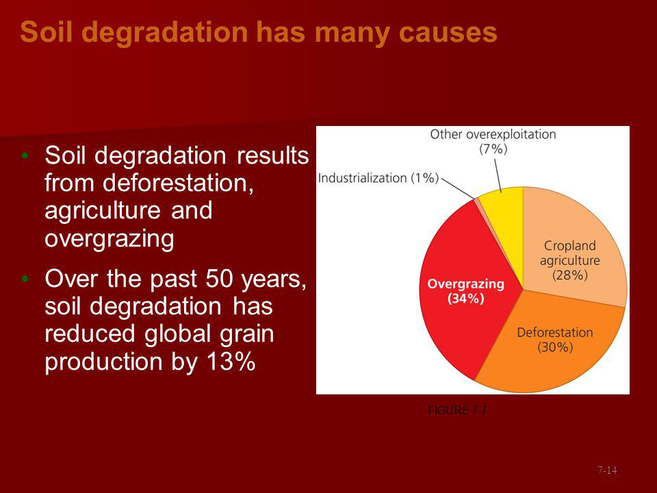 Soil degradation has many causes Soil degradation results from deforestation, agriculture and overgrazing Over the past 50 years, soil degradation has