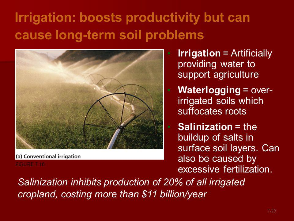 Irrigation: boosts productivity but can cause long-term soil problems Irrigation = Artificially providing water to support agriculture Waterlogging = over- irrigated soils which suffocates roots Salinization = the buildup of salts in surface soil layers.