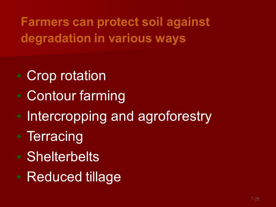 Farmers can protect soil against degradation in various ways Crop rotation Contour farming Intercropping and agroforestry Terracing Shelterbelts Reduced tillage 7-26
