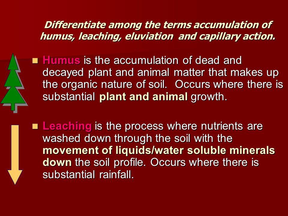 Differentiate among the terms accumulation of humus, leaching, eluviation and capillary action. Humus is the accumulation of dead and decayed plant an