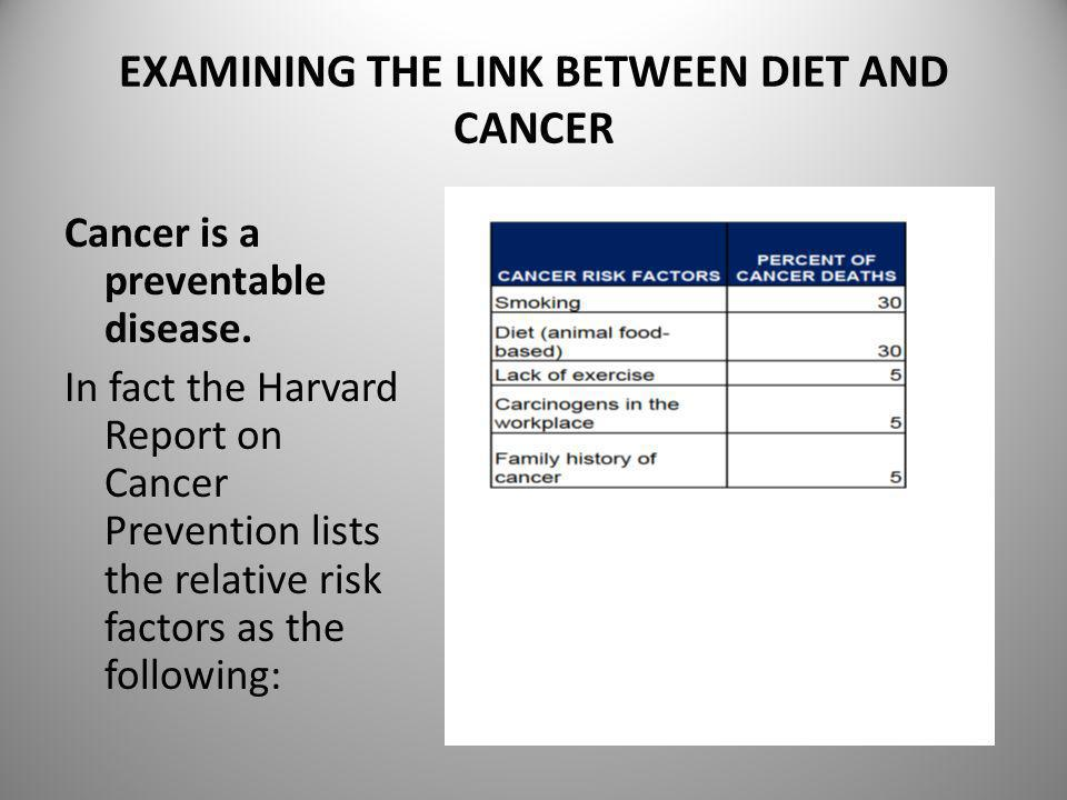 EXAMINING THE LINK BETWEEN DIET AND CANCER Cancer is a preventable disease. In fact the Harvard Report on Cancer Prevention lists the relative risk fa