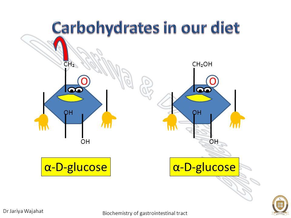 Dr Jariya Wajahat Biochemistry of gastrointestinal tract α-D-glucose O OH CHOH α-D-glucose O OH CH