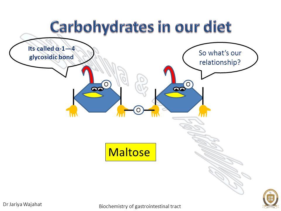 Dr Jariya Wajahat Biochemistry of gastrointestinal tract Maltose OOO So whats our relationship? Its called α-14 glycosidic bond