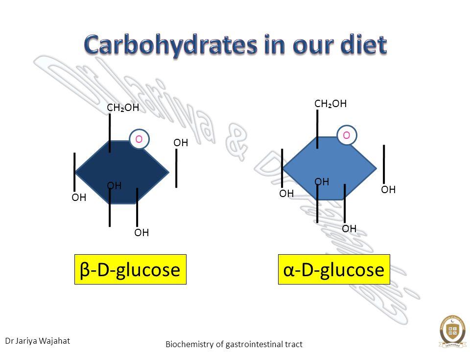 Dr Jariya Wajahat Biochemistry of gastrointestinal tract α-D-glucose OH CHOH OH O CHOH OH β-D-glucose O