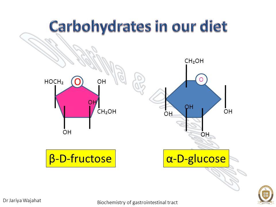 Dr Jariya Wajahat Biochemistry of gastrointestinal tract β-D-fructose OH CHOH O HOCH OH α-D-glucose OH CHOH OH O