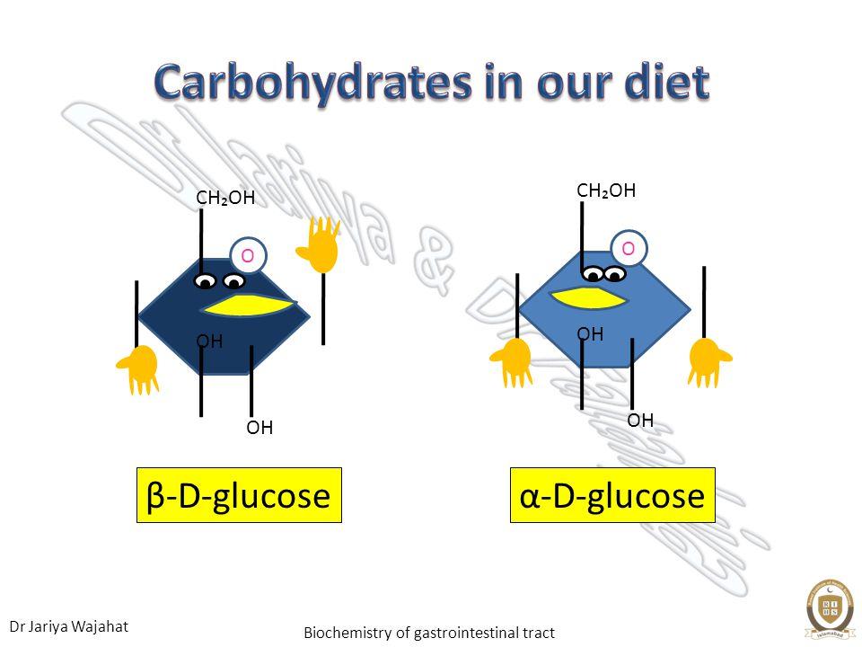 Dr Jariya Wajahat Biochemistry of gastrointestinal tract α-D-glucoseβ-D-glucose OH CHOH OH CHOH O O