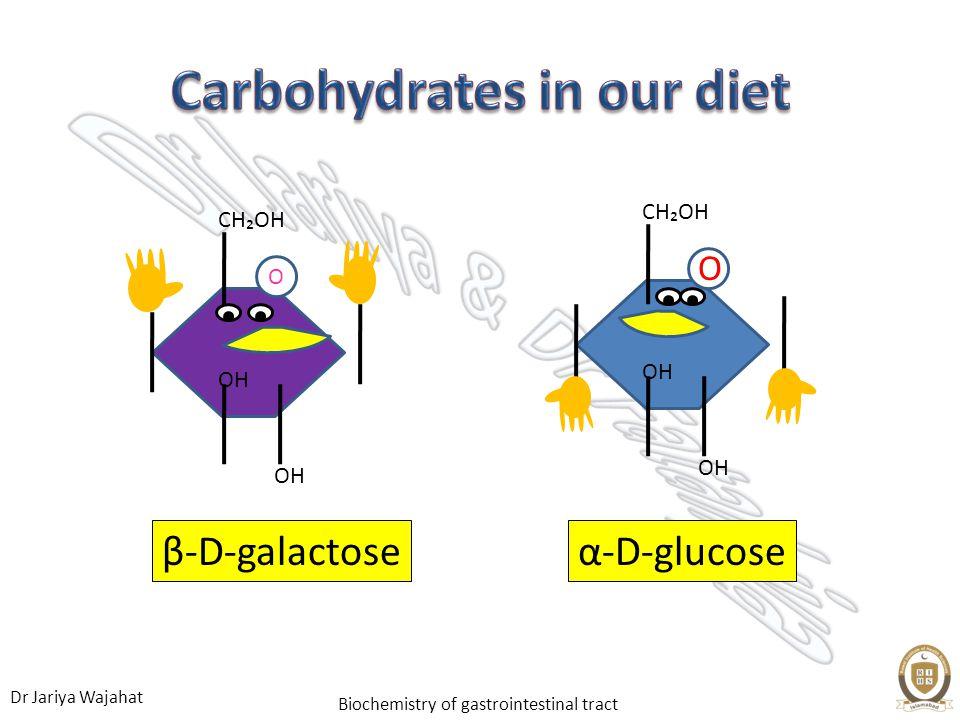 Dr Jariya Wajahat Biochemistry of gastrointestinal tract α-D-glucoseβ-D-galactose O OH CHOH OH CHOH O