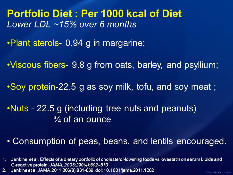 ©2012 MFMER | slide-9 Portfolio Diet : Per 1000 kcal of Diet Lower LDL ~15% over 6 months Plant sterols- 0.94 g in margarine; Viscous fibers- 9.8 g from oats, barley, and psyllium; Soy protein-22.5 g as soy milk, tofu, and soy meat ; Nuts - 22.5 g (including tree nuts and peanuts) ¾ of an ounce Consumption of peas, beans, and lentils encouraged.