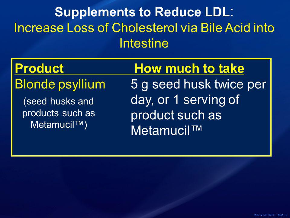 ©2012 MFMER | slide-12 Product How much to take Blonde psyllium 5 g seed husk twice per day, or 1 serving of product such as Metamucil Supplements to Reduce LDL : Increase Loss of Cholesterol via Bile Acid into Intestine (seed husks and products such as Metamucil)
